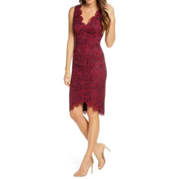 NWT ELIZA J Tulip Hem Lace Cocktail Dress